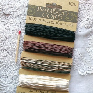36 meters of Fine bamboo Cord in 4 colors, 0,8 mm