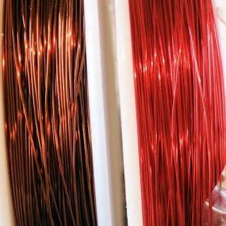 Metallic copper thread for jewelry making, beads, 0,3 mm