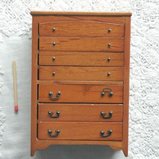 7 drawers dresser, wallnut, doll house miniature furniture