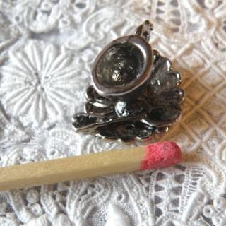 Doll Miniature metal Egg cup, bracelet charm, pendant 13 mms,