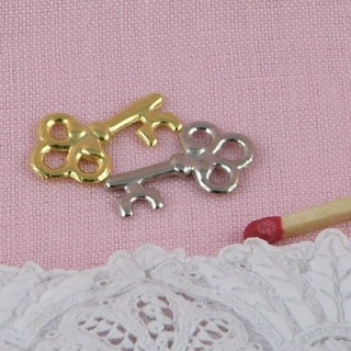 Clef pendentif, breloque,  bijou miniature poupée, 3,5 cm