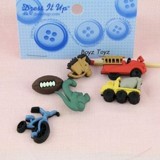 Button Dress it up, toys, train, truck fireman, , motorcycle