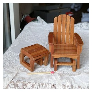 Single glider chair Miniature dollhouse garden deckchair 9 cms