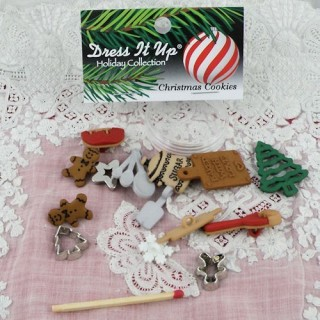 Kitchen Dress it Up Christmass cookies buttons,