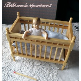 Baby bed luxurous miniature dollhouse  11 cms.