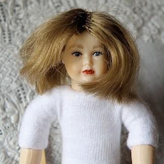 Peluca para muñeca miniatura casa 1 / 12eme