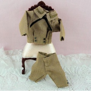 1900 Outfit miniature doll boy 1 / 12eme dress hat
