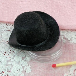 Black felt hat miniature 2 inches for doll