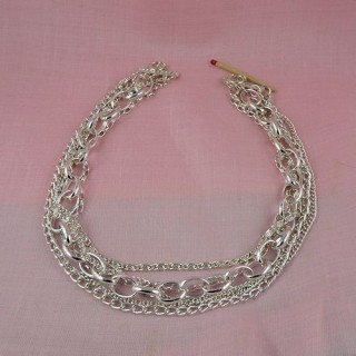 Silver five chains necklace bottom 25 cms