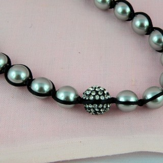 Collier perle et strass shamballa fabrication bijoux