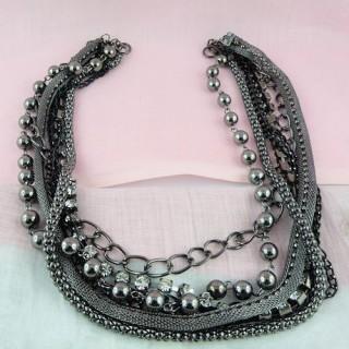 Elegante collar de punto 7 filas de joyería haciendo