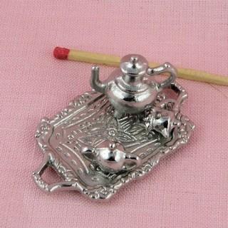 Miniature Silvery tea service in enamelled metal