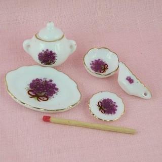 Service en porcelaine miniature maison poupée 1/12 eme