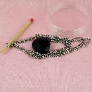 Pendentif coeur & chaines métal 7 cm.
