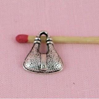 Breloque Sac à main métal besace, pendentif, charms 2,1 cm.