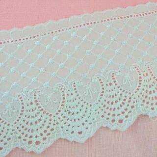 Breit Weiß Baumwolle Stickerei Spitze 9 cm.