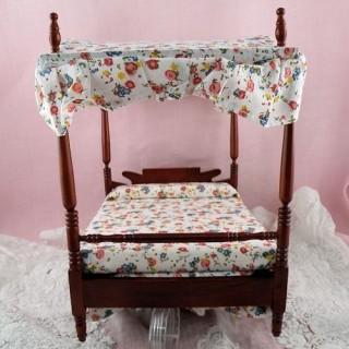 Lit baldaquin deux places meuble miniature maison poupée.cm.
