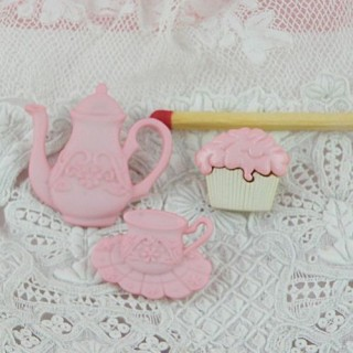 3 buttons tea time for doll