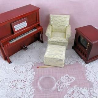 Salón retro miniatura casa muñeca
