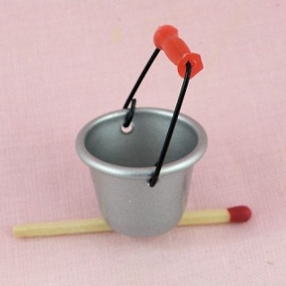 Metal pail miniature for doll house bucket 2,5cm