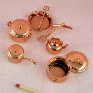 9 Utensilios cocinan miniaturas casa muñeca