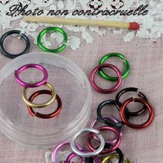 Aluminium jump rings in fashion colors 15 mm.