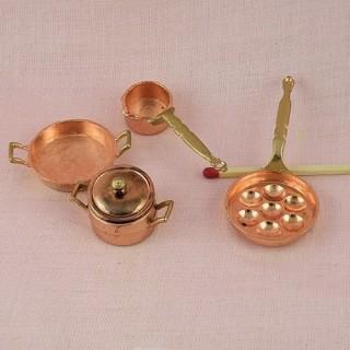 casseroles cuivre miniatures cuisine maison poupée