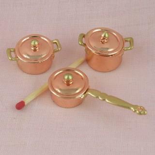 Lot casseroles cuivre miniatures cuisine maison poupée