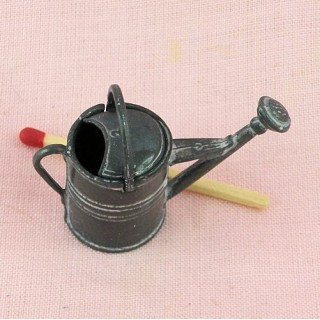 Metal rust tin watering can miniature, 3 cms.