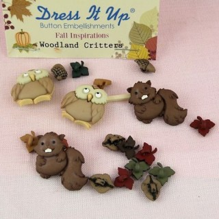 Boutons animaux forêt chouette hiboux raton laveur Dress it up