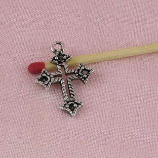 Cross miniature pendant with holes 25 mms