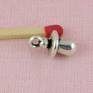 Pacifier for dollhouse 1/12, metal pendant 13 mms