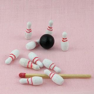 Wooden bowling set doll miniature,