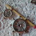 Pendant Wheel rudder of pirates boat, charm, miniature, 3 cm.