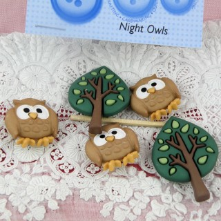 Buttons Dress It Up, forest animals: owls