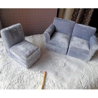Canapé 3 éléments salon meuble miniature maison poupée