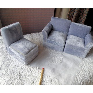Small sectional 3 sofa Living room miniature doll house furniture