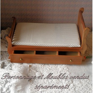 Sleigh youth bed varnished wood miniature furniture for dollhouse.