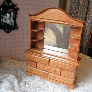 Dresser with mirror, dollhouse miniature furnitures