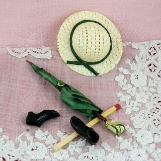 Paraguas sombrero zapatos miniatura muñeca