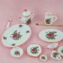Service table porcelaine miniature maison poupée 35 pièces.