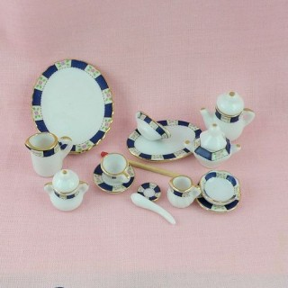 Servicio cuenta 35 partes porcelana miniatura casa muñeca 1/12