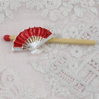 Folding metal fixed lady Fan 2 cms, Barbie doll minature