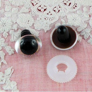 Plastic eyes, washable for bear or animal head, 15 mms