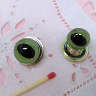 Plastic eyes, washable for cat or animal head, 15 mms