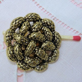 Shank metal button gold rope style, 3 sizes.