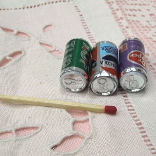 3 Latas soda bebida miniaturas muñeca