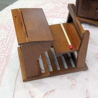 Pupitre écolier bois avec banc miniature maison de poupée
