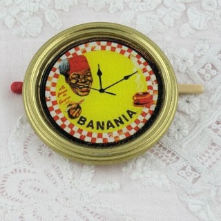 BANANIA wall clock miniature for dollhouse kitchen