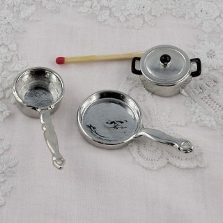Doll miniature Aluminium casserole set Frying pan